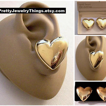 Big Bold Heart Button Clip On or Pierced Post Earrings Gold Tone Vintage Avon Large Puffed Mirror Smooth Finish Discs Surgical Steel Posts