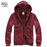 HanHent Fashion Solid Color Fleece Sweatshirts Man Thick Autumn Winter Cardigan Streetwear Fitness Jacket Men's Casual Hoodies