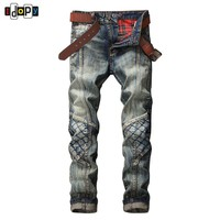 Fashion Men's Ripped Biker Jeans Brand Designer Distressed Vintage Washed Denim Pants With Hole Patch Pleated Jeans For Men