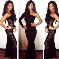 Black Lace One Shoulder Fishtail Bodycon Maxi Dress