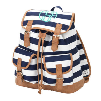 Monogrammed Campus Backpack Navy Blue Stripe Bookbag Satchel Back Pack Book Bag Girls