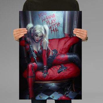 Poster Print Harley Quinn You Wanna Play With Me Wall Decor Canvas Print Halawatani