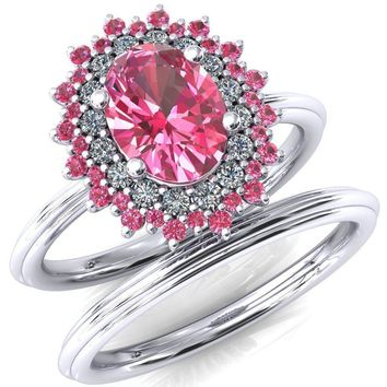 Eridanus Oval Pink Sapphire Cluster Diamond and Pink Sapphire Halo Wedding Ring ver.2