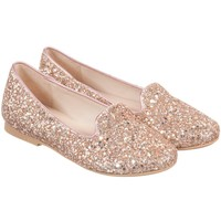 Gold Glitter Leather Girls Shoes
