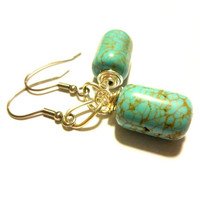 Pretty Turquoise Earrings, Southwestern Earrings, Native American Jewelry, Wild West, Cowgirl Gift