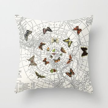 Butterfly Effect Throw Pillow, cream, black, brown, Butterfly,  unique decor with map