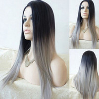 hot~Straight Gray Synthetic Wig Ombre Tone Color Black And Grey Fiber**grace Mother party women bride cosplay
