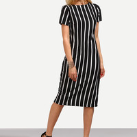 Black Vertical Striped Short Sleeve Midi Dress