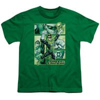 JLA/GREEN LANTERN PANELS - S/S YOUTH 18/1 - KELLY GREEN -