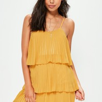 Missguided - Yellow Pleated Layered Swing Dress