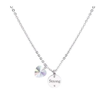 Dainty Inspirational Necklace made with Crystals from Swarovski  - STRONG