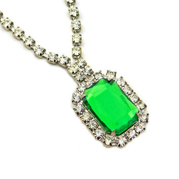 Green Faux Emerald Acrylic Rhinestone Necklace
