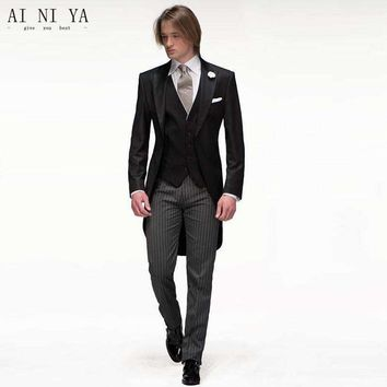 (Jackets+Pants+Vest) 2018 Black Men Suits Slim Fit Groom Tuxedos Bridegroon Formal Prom Party Business Dress Wedding Suits Male