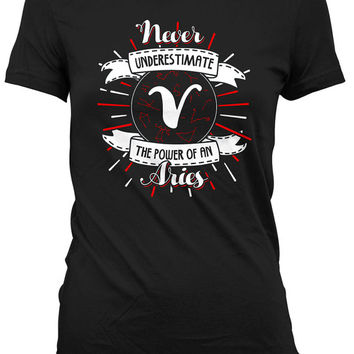 Aries T Shirt Gifts For Birthday Zodiac Shirt Astrology TShirt Horoscope Never Underestimate The Power Of An Aries Mens Ladies Tee DAT-942