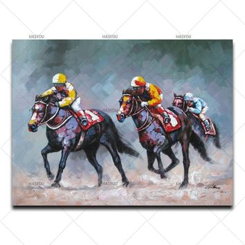 Horse racing Pictures Painting By hand painted Home Decor For Living Room  Canvas Oil Painting Wall Art home decoration