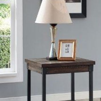 Aesthetic End Table with bottom shelf, Brown