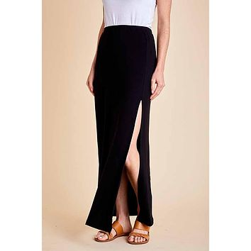 Z Supply Black Side Slit Maxi Skirt