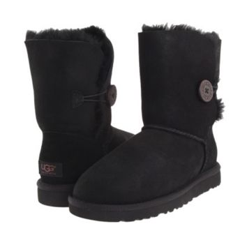 """UGG"" Women Fashion Wool Snow Boots Calfskin Shoes A button Black"