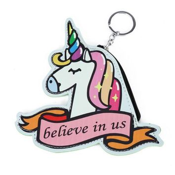 "Adorable Cutout Rainbow Unicorn ""Believe in Us"" Keychain Coin Purse with Zippered Closure and Keyring"