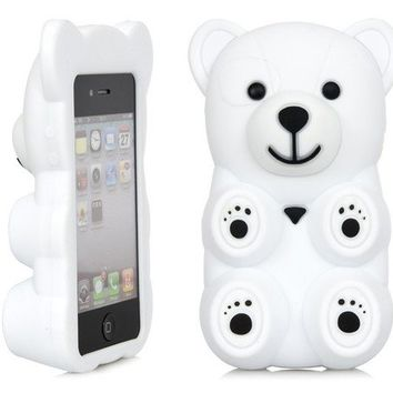 3D White Polar Bear Cute Cartoon Silicone Full Cover Case Apple iPhone 4 4S