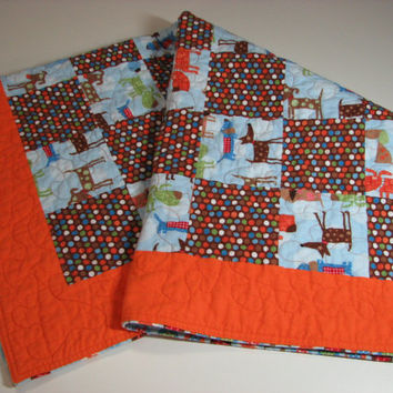 Baby Quilt , Flannel Patchwork Quilt , Puppies and Polka Dots , Blue/Orange/Brown