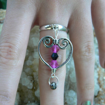 hot heart ring scroll heart pink and black crystals in hipster gypsy boho hippie gothic and fantasy style