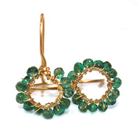 Colombian Emerald Earrings Emerald Jewelry May Birthstone Summer Finds Gold Hoop Earrings Delicate Earrings Simple Jewelry FizzCandy Gems