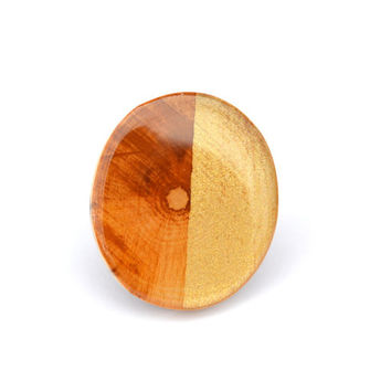 Gold two tone wood ring Color block statement ring Eco friendly jewelry wood jewelry starlight woods