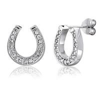 BERRICLE Sterling Silver Cubic Zirconia CZ Horseshoe Fashion Stud Earrings
