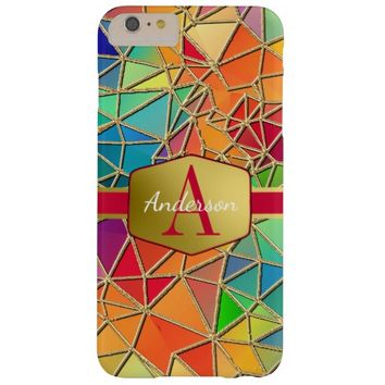 Glam Gold Trimmed Polygon Monogrammed Barely There iPhone 6 Plus Case
