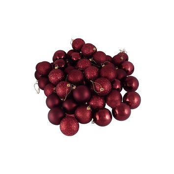 """32ct Burgundy Red 4-Finish Shatterproof Christmas Ball Ornaments 3.25"""" (80mm)"""