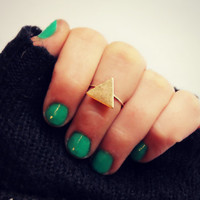 triangle knuckle ring in sterling silver and brass, Triangle ring, midi ring, minimalist ring, stacking ring, two tone ring