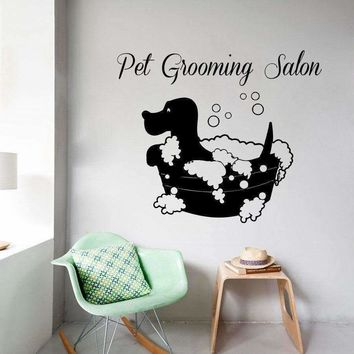 Fashion Pet Shop Vinyl Wall Decal Pet Grooming Salon Sign Lettering Dog Bath Mural Art Wall Sticker Pet Salon Room Decoration