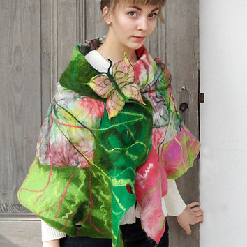 Nuno felted ruffle scarf, woman spring fashion, wearable art, long silk shawl, green and pink wool wrap, nature inspired, leaf design, OOAK