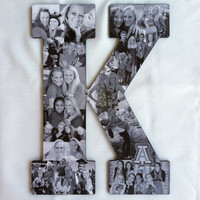 Custom Photo Collage letter - Girlfriend gift - College dorm room decor - Wedding