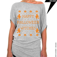 Happy Halloween Witches - Gray with Orange Longer Length Slouchy Tee (Small - Plus Sizes)