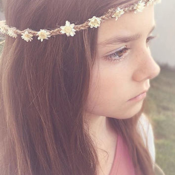 Dawn Boho Tie Back • Floral Halo • Floral Crown • Jute Halo • Bridesmaid Headpiece • Flower Girl • Floral headband • Wedding | Ready To Ship • by Sew Trendy