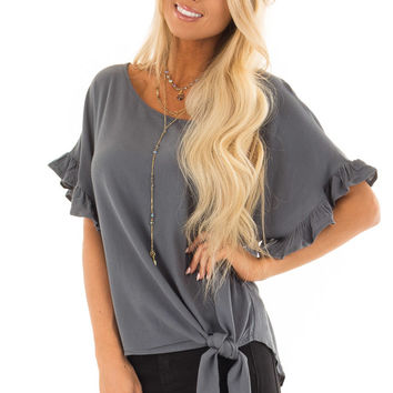 Dusty Teal Ruffled Sleeve Blouse with Front Knot Detail