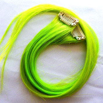 NEON BLACKLIGHT Electric Green Remy Human Hair Single Clip Extensions 18 in. Set of 2 | Summer, Music Festivals, Black Light, Tie Dye Hair