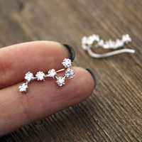 Big Dipper Earcuff style Stud Earrings detailed with cubic zirconia in gold / silver, E0259S