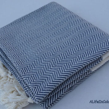 Bluish gray colour herringbone patterned Turkish soft cotton bath towel, beach towel, travel towel, TV blanket, throw.