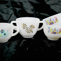 Milk Glass Tea Cups , Turquoise Pink and Gold , Set of 4 Different Cups , Fire King