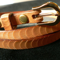 Womens skinny tooled leather belt