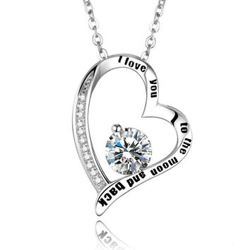 I Love You To The Moon And Back Chain Necklace
