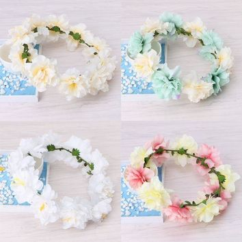 ESB1ON Boho Floral Flower Crown Headband Hair Garland Wedding Party Headpiece Hairband