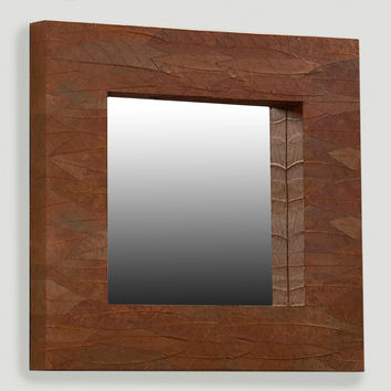 Mahogany Leaf Square Mirror - World Market