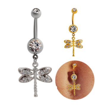 Fashion lovely dragonfly zircon belly button ring antiallergic Navel Belly Ring-0428-Gifts box