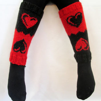 Valentine's Day Gift, Boot cuff, Knitted boot cuffs, Black, Red,  Two in One, Leg Warmer, Very Long Cuff, Garnished with heart pattern.