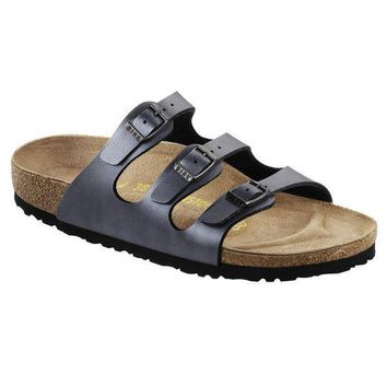 VON7Y1 Beauty Ticks Birkenstock Classic Florida Birko-flor Regular Fit Ice Pearl Onyx