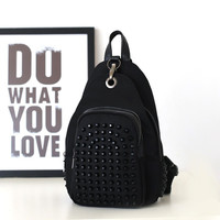 Rivet Backpack Waterproof Nylon Casual Mini Leather Travel Bags [4915806468]